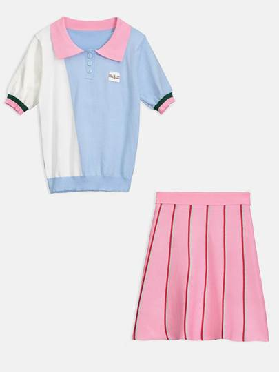 Color Block Lapel Shirt and Skirt Women's Two Piece Dress