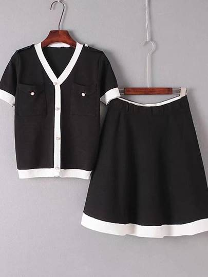Color Block Button Top and Skirt Women's Two Piece Dress