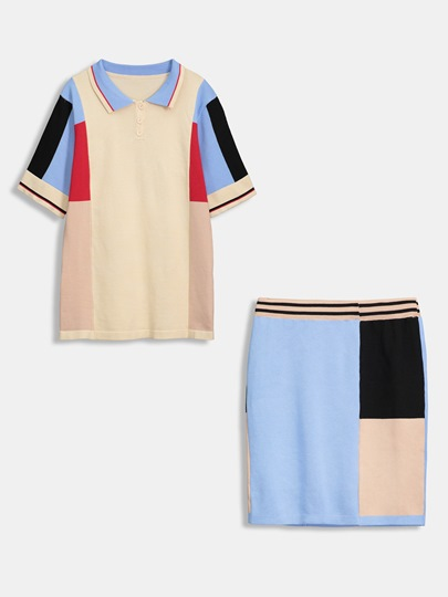 Color Block Top with Skirt Women's Two Piece Dress