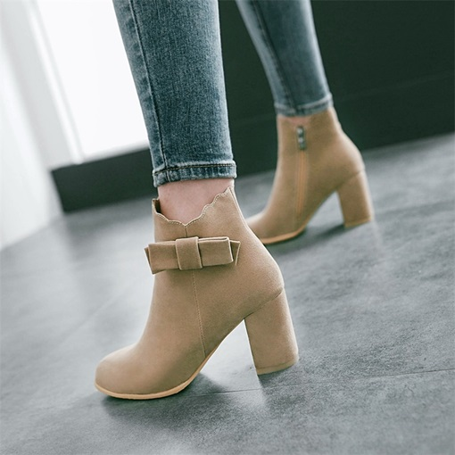 Chunky Heel Bowtie Side Zipper Plain Fashion Women's Ankle Boots