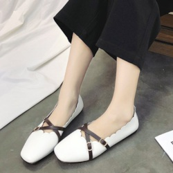 Low-Cut Square Toe Block Heel Buckle Flat Sandals for Women