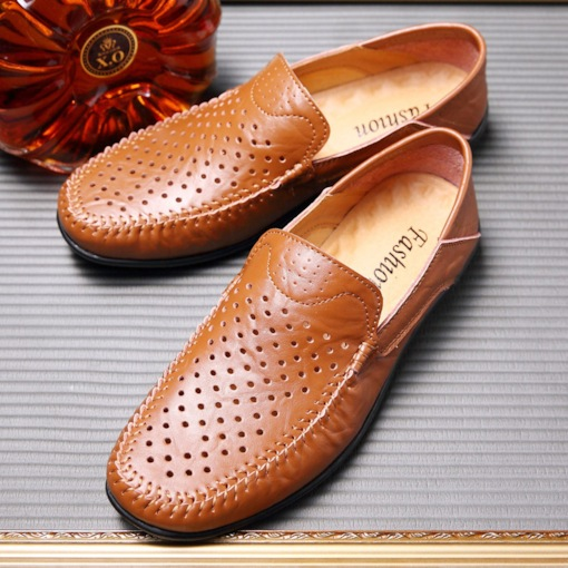 PU Low-Cut Round Toe Hollow Thread Professional Men's Loafers