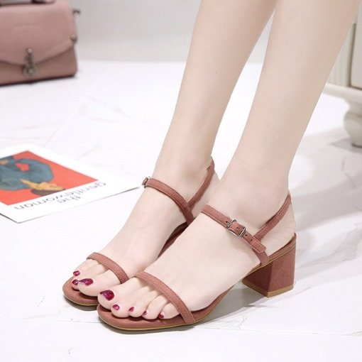 Suede Open Toe Block Heel Buckle Ladylike Plain Women's Sandals