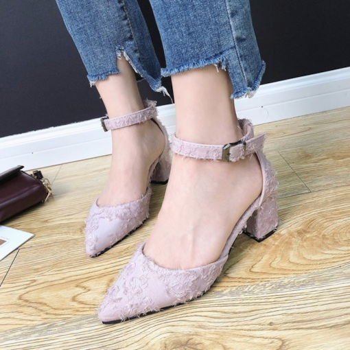 Line-Style Buckle Suede Pointed Toe Dressy Pumps for Women
