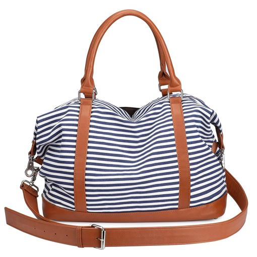Canvas Pillow Shaped Stripe Tote Bag