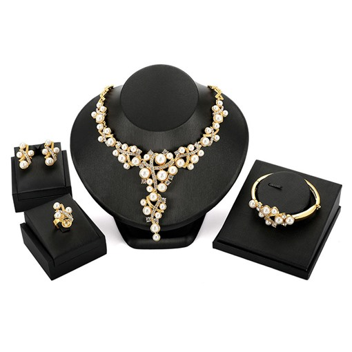 Pearl Inlaid Diamante Four-Piece Jewelry Sets
