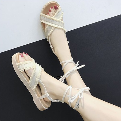 Fringe Platform Lace-Up Ankle Strap Ladylike Open Toe Women's Sandals