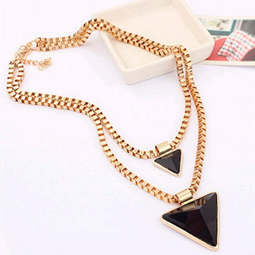 Geometric Triangles Double Sweater Necklace