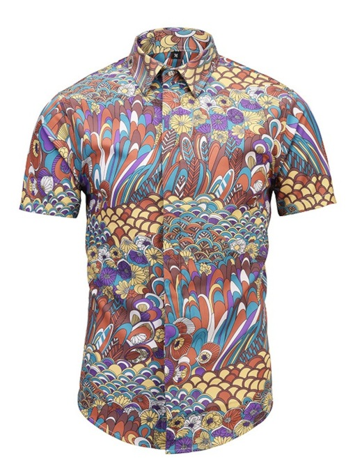 Lapel Color Print Short Sleeve Slim Men's Shirt