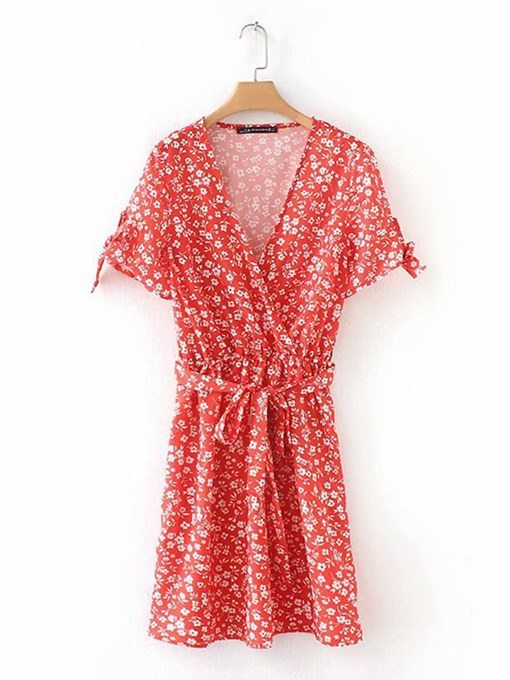 Floral Red Lace up Women's Day Dress