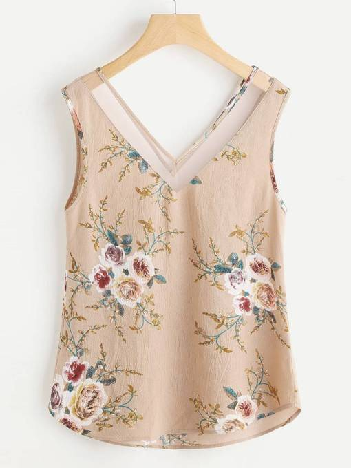 V-Neck Mesh Patchwork Floral Women's Tank Top
