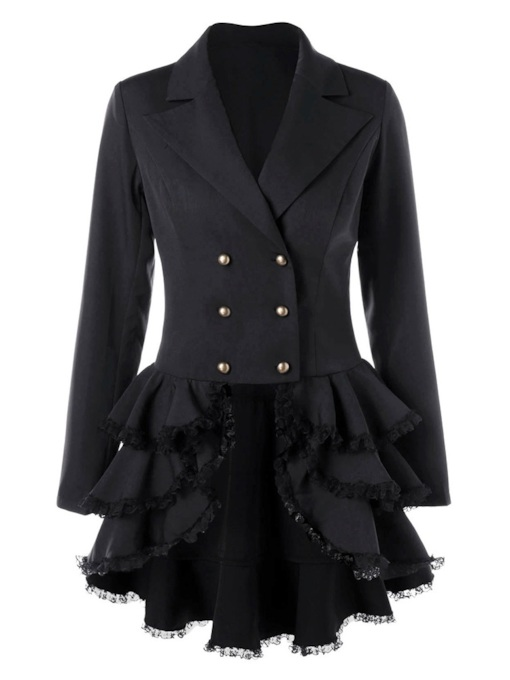 Falbala Layered Hem Double-Breasted Women's Overcoat