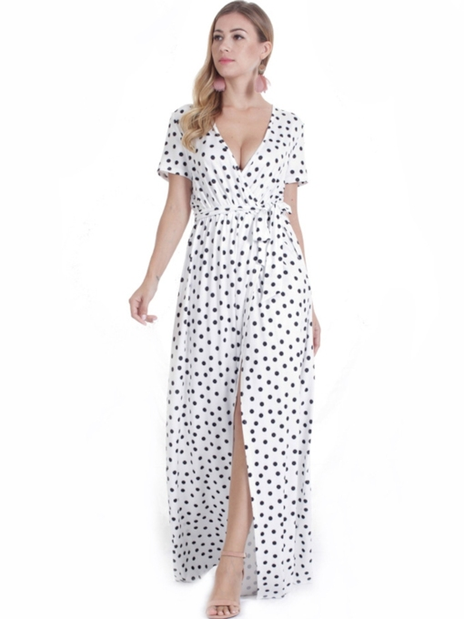 White Polka Dots Lace up Women's Maxi Dress