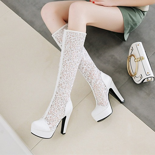 Chunky Heel Back Zip Platform Knee High Boots for Women