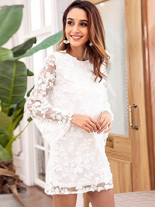 White Backless Women's Lace Dress