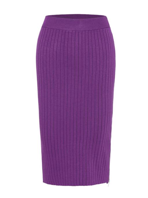 Plain Pleated Long Split Women's Skirt
