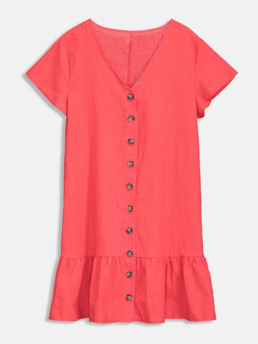 Red V-Neck Button Day Dress