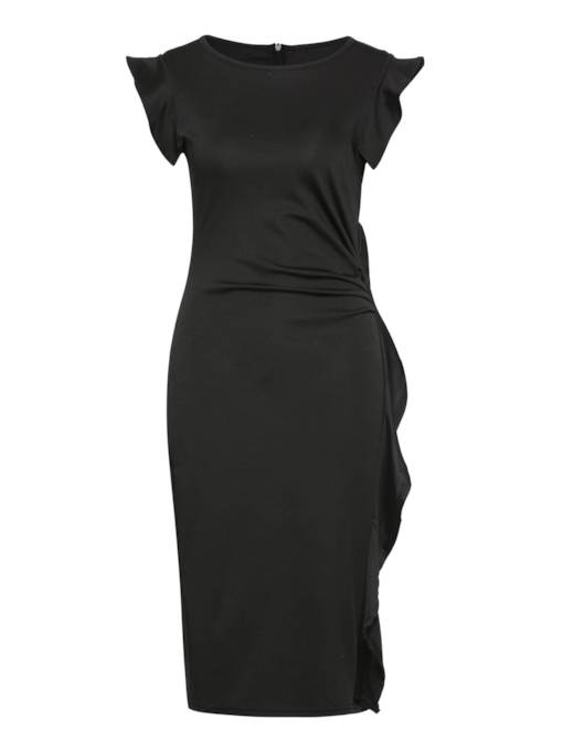 Black Ruffled Falbala Women's Bodycon Dress