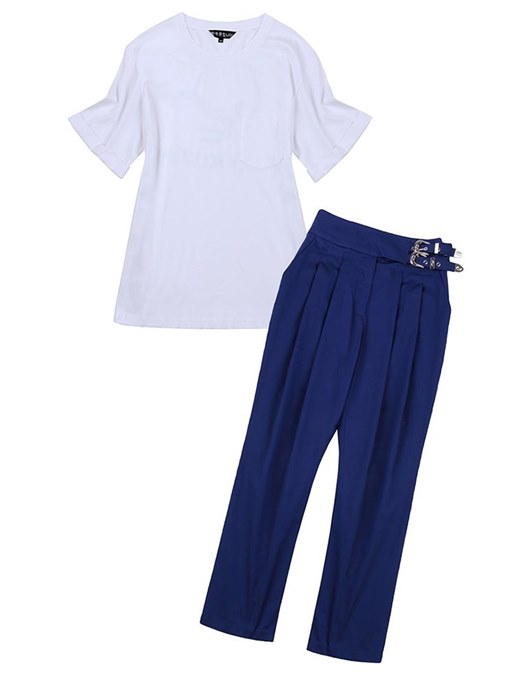 Plain Ruffled Short Sleeve Top and Pants Women's Two Piece Set