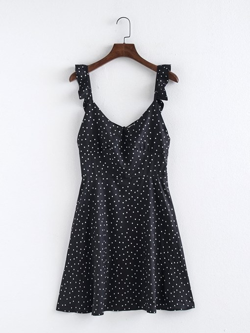 Polka Dots Black Women's Sexy Dress
