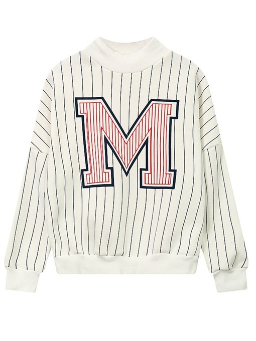 Stripe Letter Print Brushed Women's Sweatshirt