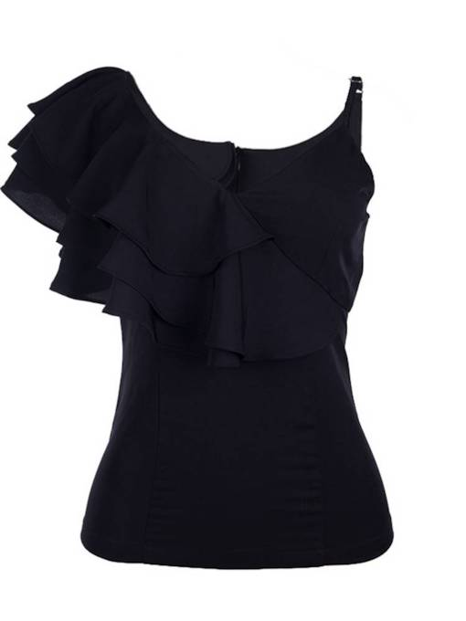 One Shoulder Layered Frill Women's Tank Top