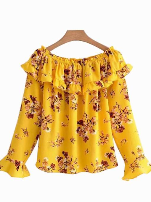 Ruffle Floral Boat Neck Flare Sleeve Women's Blouse
