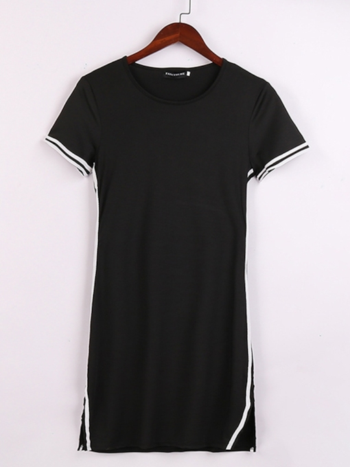 Black Pullover Short Sleeve Women's Day Dress