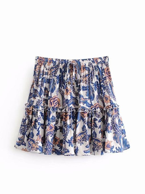Floral Print Pleated A Line Women's Skirt