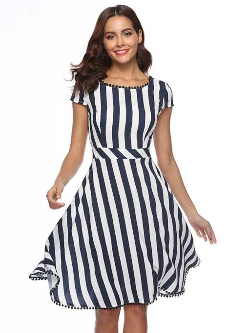Cap Sleeve Striped Backless Women's Day Dress
