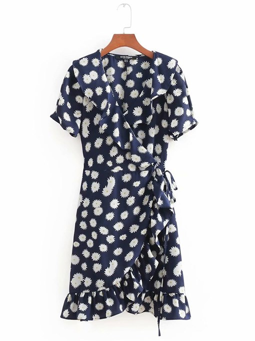 Dark Blue Floral Women's Day Dress