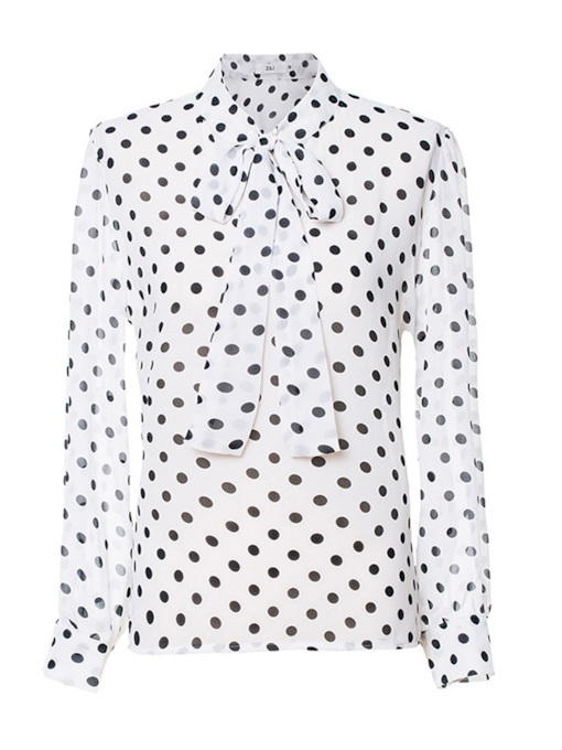 Polka Dot Bow Tie Neck Chiffon Women's Blouse