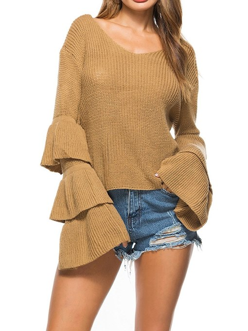 Layered Bell Sleeve Women's Summer Sweater