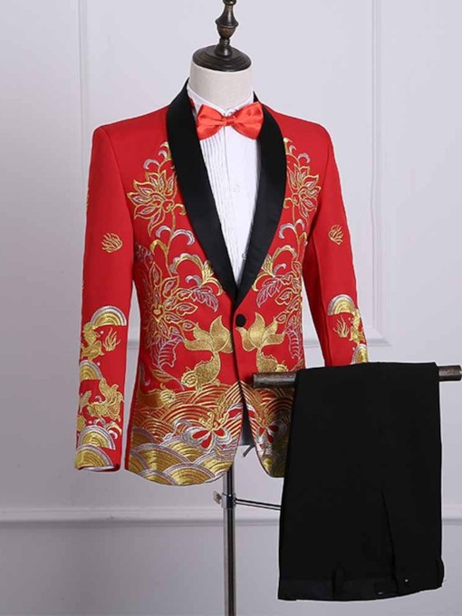 Chinese Style Embroidery Slim Men's Dress Suit
