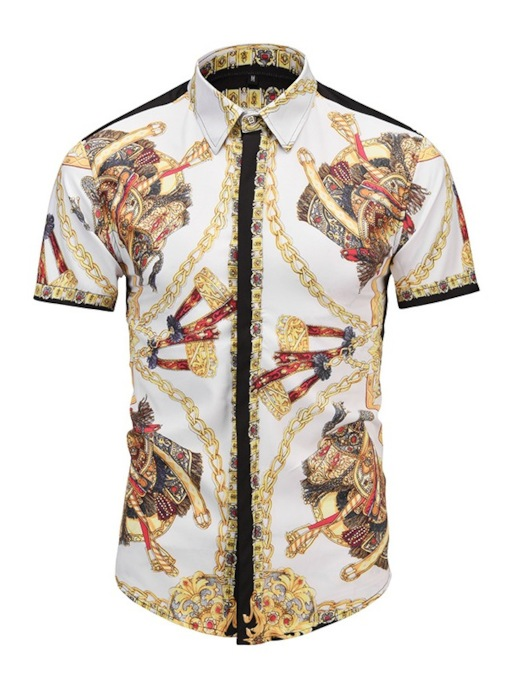 Lapel Gold Print Short Sleeve Men's Shirt