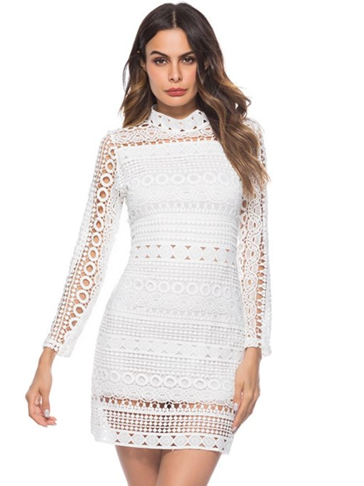 White Hollow Back Zipper Women's Lace Dress