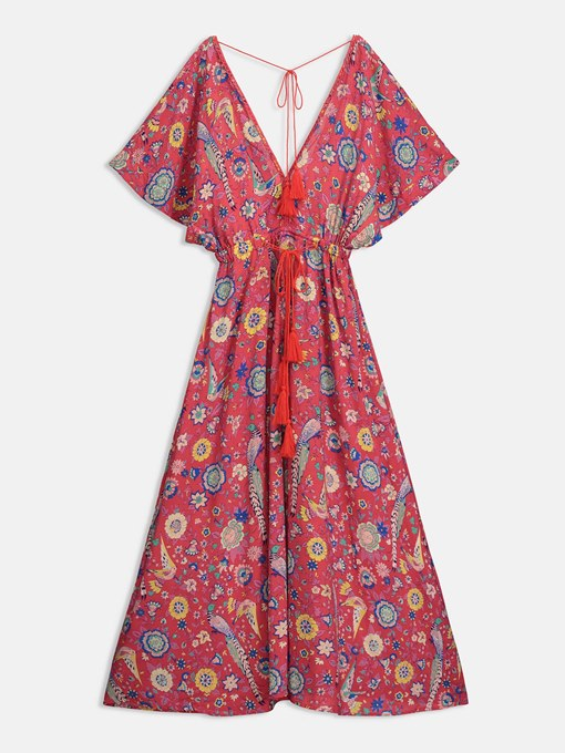 Red Open Back Floral Women's Maxi Dress