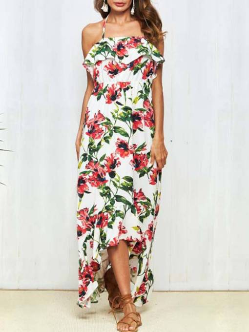 Floral Halter Women's Maxi Dress