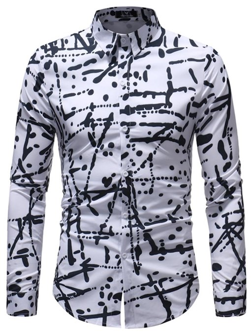 Black White Lapel Slim Men's Leisure Shirt