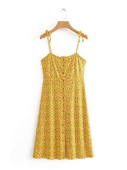 Yellow Strappy Printing Women's Sexy Dress