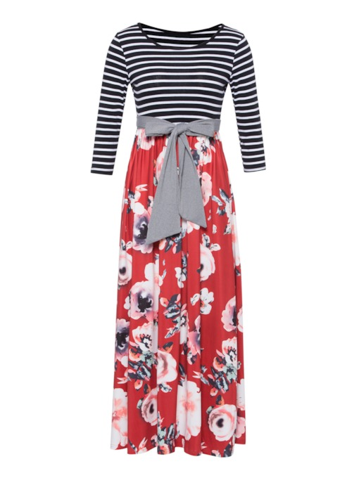 Striped Floral Women's Maxi Dress