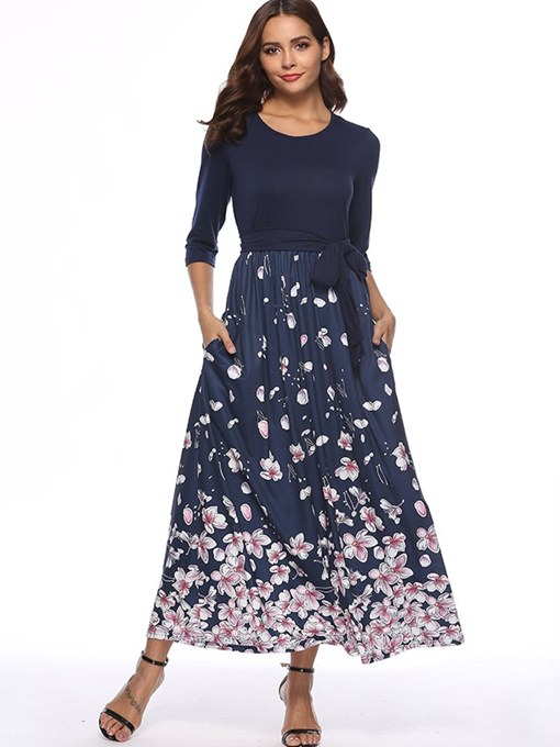 Dark Blue Lace up Pockets Women's Maxi Dress
