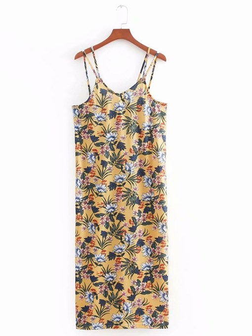 Yellow Strappy Floral Women's Sexy Dress