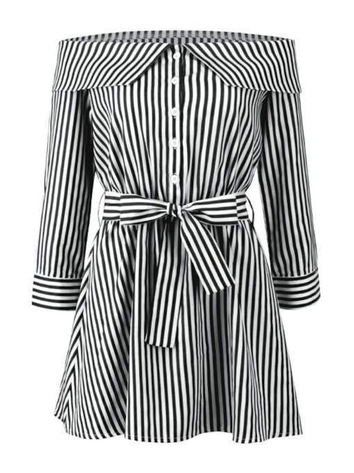 Slash Neck Striped Women's Long Sleeve Dress
