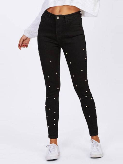 Bead Patchwork High Waist Women's Pencil Pants