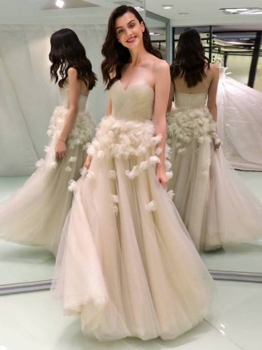 Sweetheart A Line 3D Floral Wedding Dress