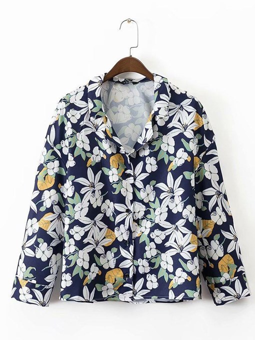 Floral Single-Breasted Lapel Long Sleeve Women's Shirt