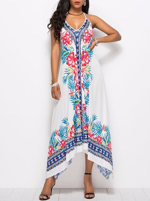 V Neck Floral Prints Casual Maxi Dress