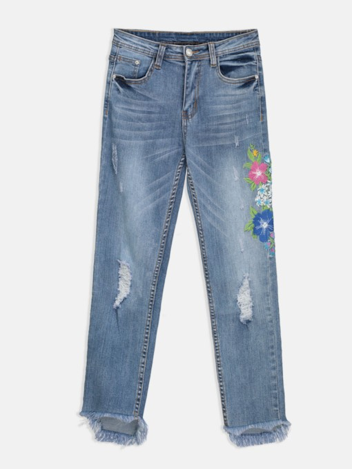 Denim Blumenstickerei Slim Fit Damen Jeans