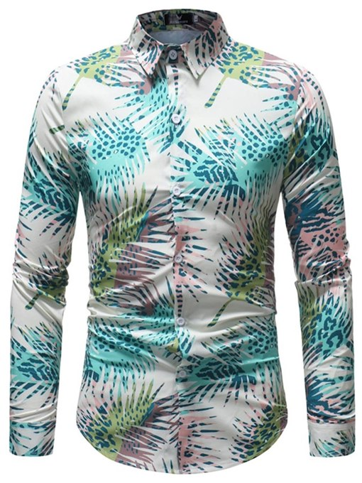 Lapel Plain Print Slim Men's Shirt